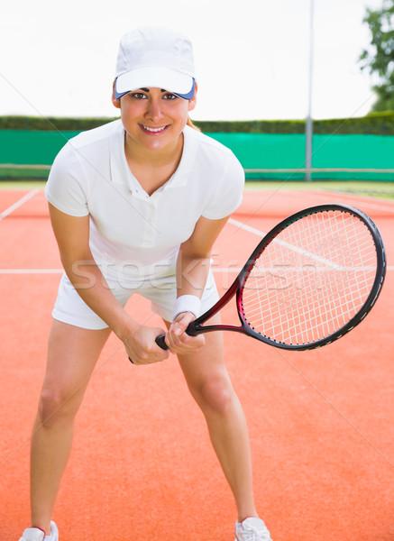 Stock fotó: Csinos · teniszező · mosolyog · kamera · napos · idő · sport