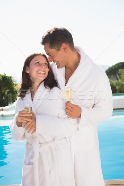 пару шампанского флейты Бассейн счастливым романтические Сток-фото © wavebreak_media