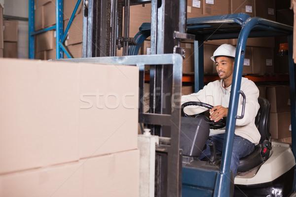 Driver macchina scatole magazzino Foto d'archivio © wavebreak_media