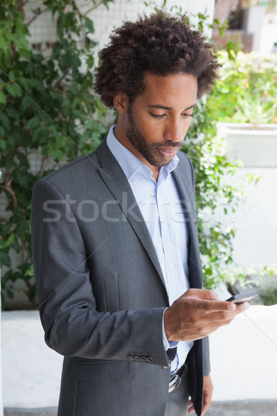 Jóképű üzletember sms chat telefon napos idő férfi Stock fotó © wavebreak_media