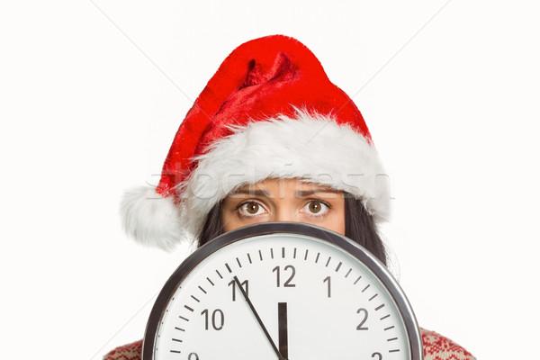 Mujer preocupado tiempo blanco rojo femenino Foto stock © wavebreak_media