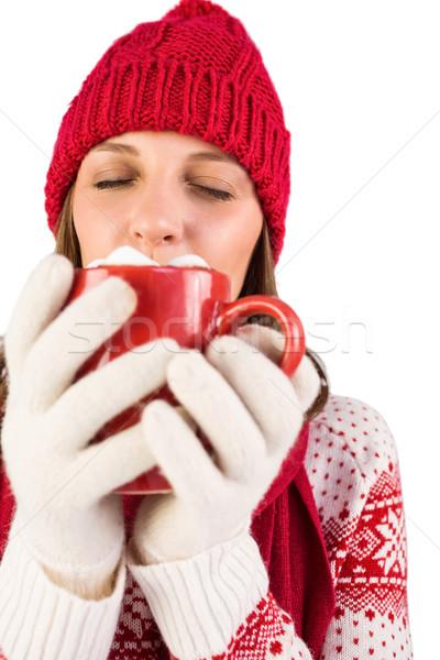 Brunette winter kleding mok koffie Stockfoto © wavebreak_media