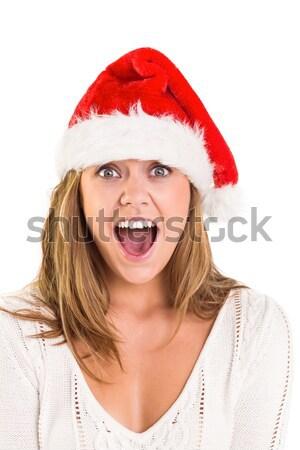 ストックフォト: かなり · サンタクロース · 少女 · 手 · 顔 · 白