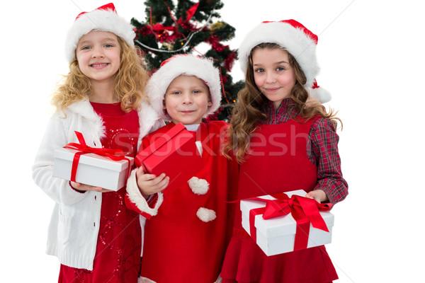 Feestelijk weinig broers en zussen geschenken witte Stockfoto © wavebreak_media