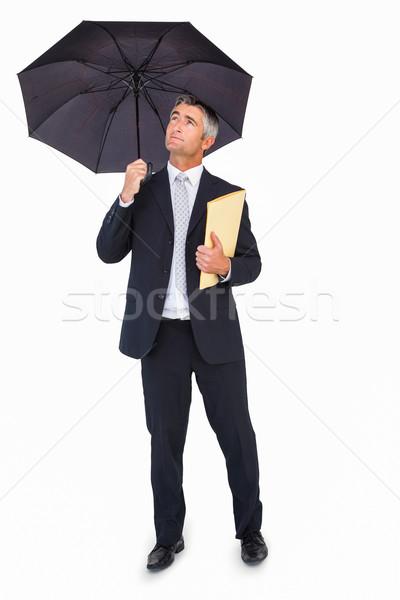 Derűs üzletember tart akta esernyő fehér Stock fotó © wavebreak_media
