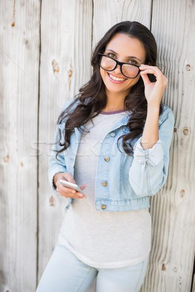 Csinos hipszter küldés szöveg fából készült kerítés Stock fotó © wavebreak_media