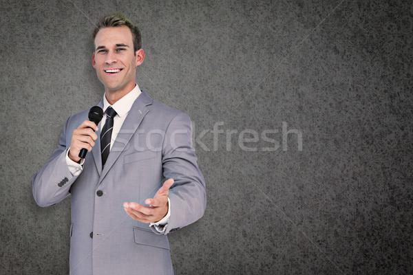 összetett kép üzletember beszéd szürke textúra Stock fotó © wavebreak_media