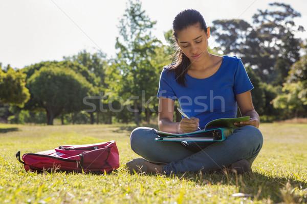 Pretty student studying outside Stock photo © wavebreak_media
