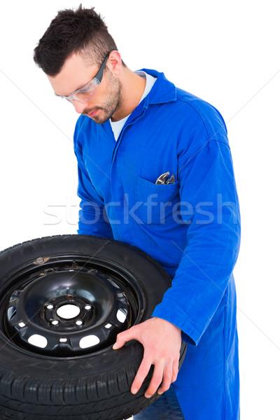 Mecánico de trabajo neumático blanco hombre gafas Foto stock © wavebreak_media