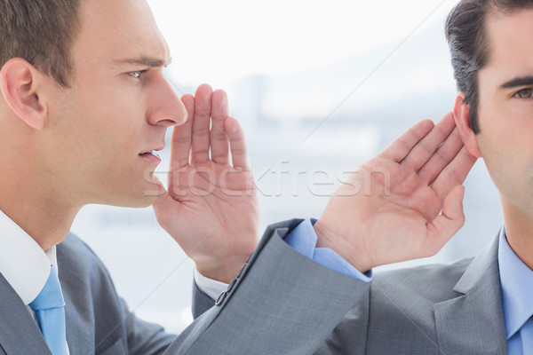 Businessman telling secret to his colleague Stock photo © wavebreak_media