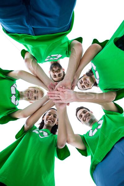 Amigos reciclagem mãos juntos Foto stock © wavebreak_media