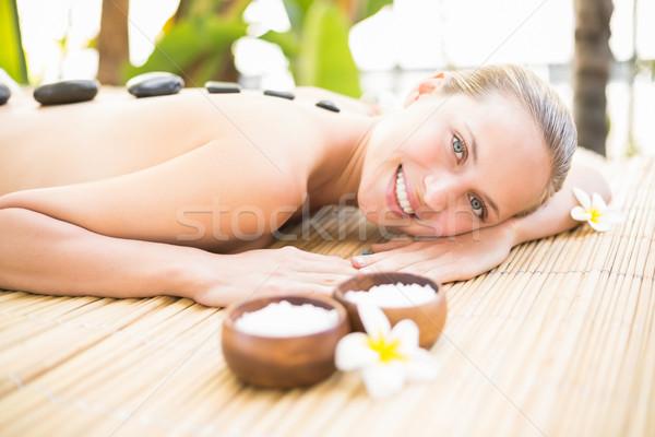 Foto d'archivio: Bella · donna · pietra · massaggio · spa · centro · ritratto