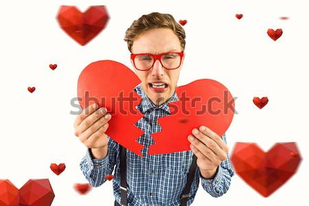 Hipszter tart összetört szív szürke szeretet divat Stock fotó © wavebreak_media