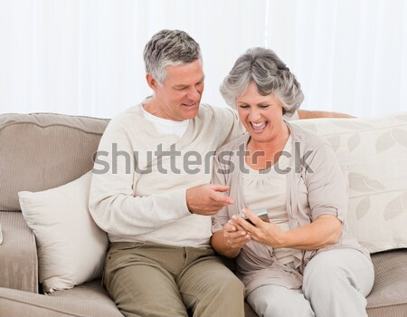 Smiling couple petting their gringer cat on the couch Stock photo © wavebreak_media