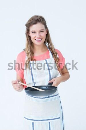 Happy hipster woman holding frying pan  Stock photo © wavebreak_media