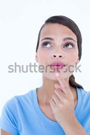 Mujer dedo barbilla blanco Foto stock © wavebreak_media