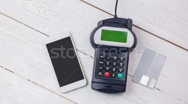 Overhead of pin terminal and smartphone Stock photo © wavebreak_media