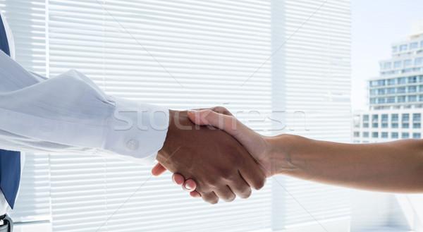 Vista dos gente de negocios apretón de manos oficina Foto stock © wavebreak_media