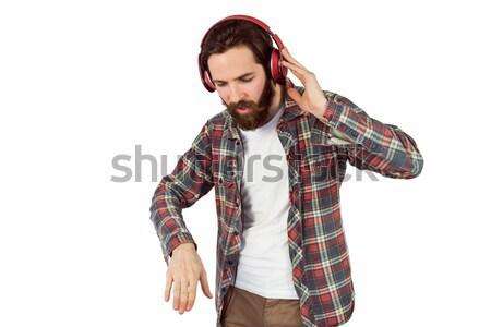 Knap genieten luisteren naar muziek witte gelukkig Stockfoto © wavebreak_media