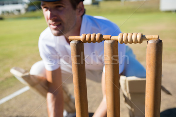 Close up of wicket keeper crouching by stumps Stock photo © wavebreak_media
