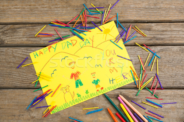 High angle view of fathers day greeting card with crayons Stock photo © wavebreak_media