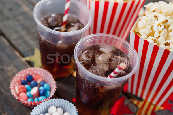 Popcorn, confectionery and drink with 4th july theme Stock photo © wavebreak_media