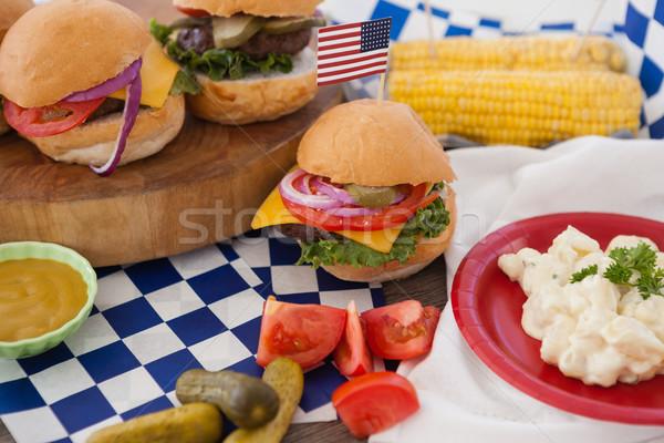 Hamburger díszített negyedike buli asztal kék Stock fotó © wavebreak_media