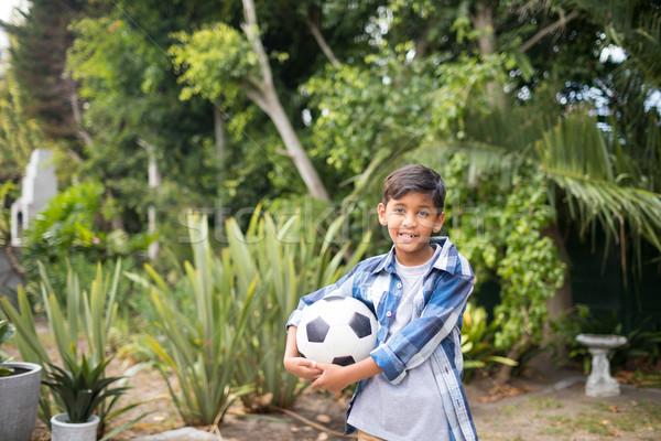 Portret jongen voetbal permanente park Stockfoto © wavebreak_media