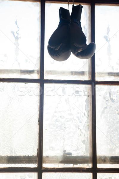 Pary rękawice bokserskie wiszący okno fitness studio Zdjęcia stock © wavebreak_media