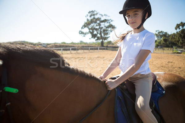 девушки верховая езда лошади ранчо ребенка Сток-фото © wavebreak_media