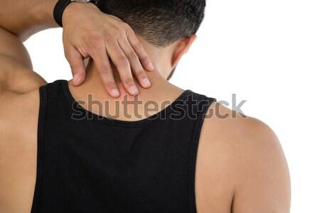 Hátsó nézet férfi megérint nyak fehér kommunikáció Stock fotó © wavebreak_media