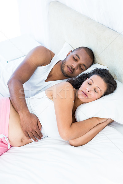 High angle view of pregnant woman with husband at home Stock photo © wavebreak_media