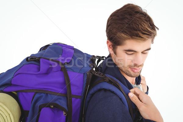 Vista laterale uomo zaino bianco bag stile di vita Foto d'archivio © wavebreak_media