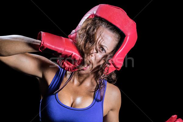 Retrato loco luchador mujer deporte rojo Foto stock © wavebreak_media