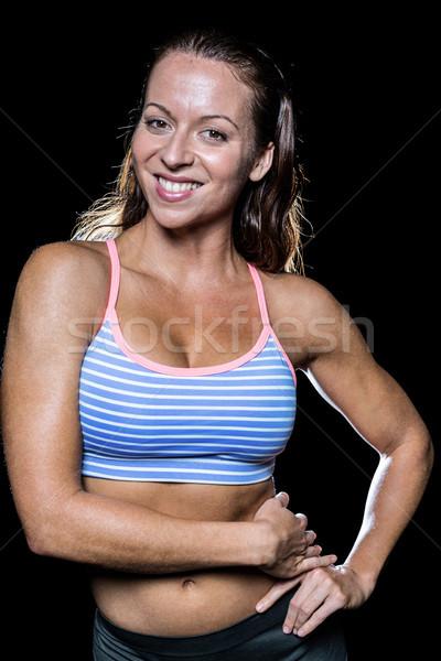 肖像 笑みを浮かべて 選手 手 ヒップ 黒 ストックフォト © wavebreak_media