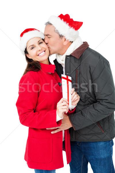 Para christmas dar biały ekranu Zdjęcia stock © wavebreak_media