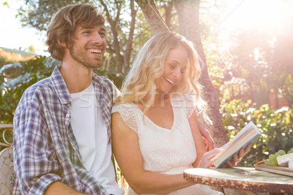 Mutlu çift rahatlatıcı gülme bahçe ağaç Stok fotoğraf © wavebreak_media