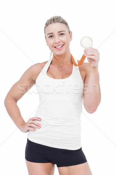 Kadın atlet madalya beyaz kadın Stok fotoğraf © wavebreak_media