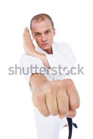 Lutador karatê posição retrato branco Foto stock © wavebreak_media
