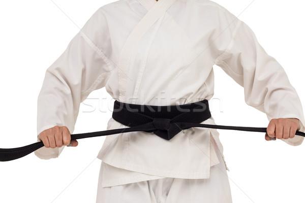 Kämpfer Karate Gürtel weiß weiblichen Stock foto © wavebreak_media