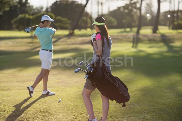 человека играет гольф женщину сумку Сток-фото © wavebreak_media