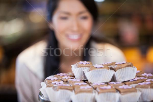 Close-up of cupcakes on cake stand Stock photo © wavebreak_media