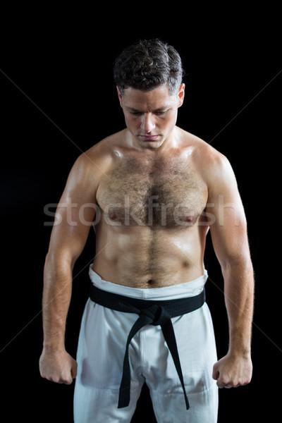 Karate myśliwiec postawa czarny sportu Zdjęcia stock © wavebreak_media