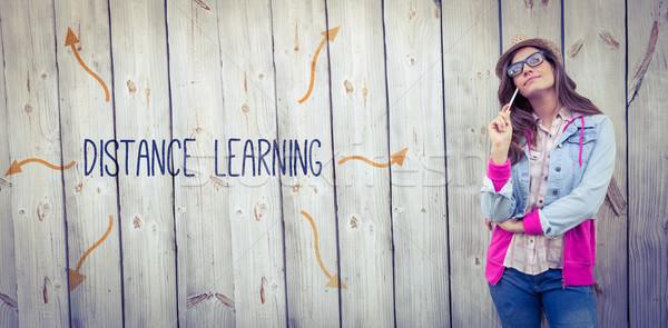 Distância aprendizagem mulher paint brush Foto stock © wavebreak_media
