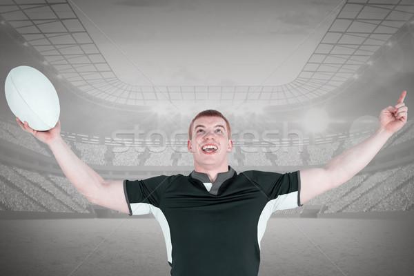 összetett kép rögbi játékos gesztikulál győzelem Stock fotó © wavebreak_media