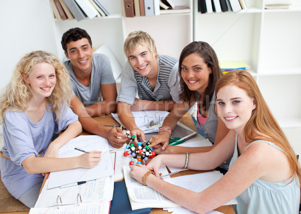 High angle of teenagers studying Science in a library Stock photo © wavebreak_media