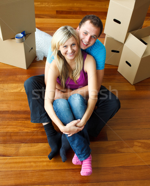 High angle of a couple sitting on floor. Moving house Stock photo © wavebreak_media