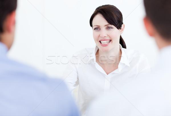 Sorridente empresária entrevista de emprego escritório negócio mulheres Foto stock © wavebreak_media