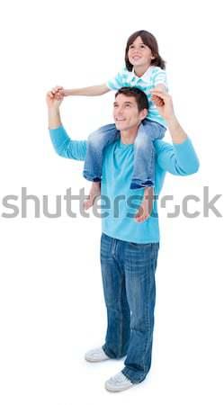 Karizmatikus apa fiú háton mosoly férfi Stock fotó © wavebreak_media