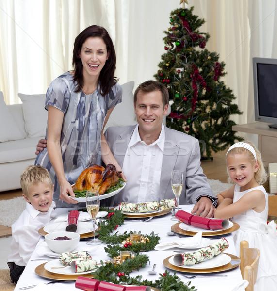 Stockfoto: Ouders · kinderen · vieren · christmas · diner · Turkije